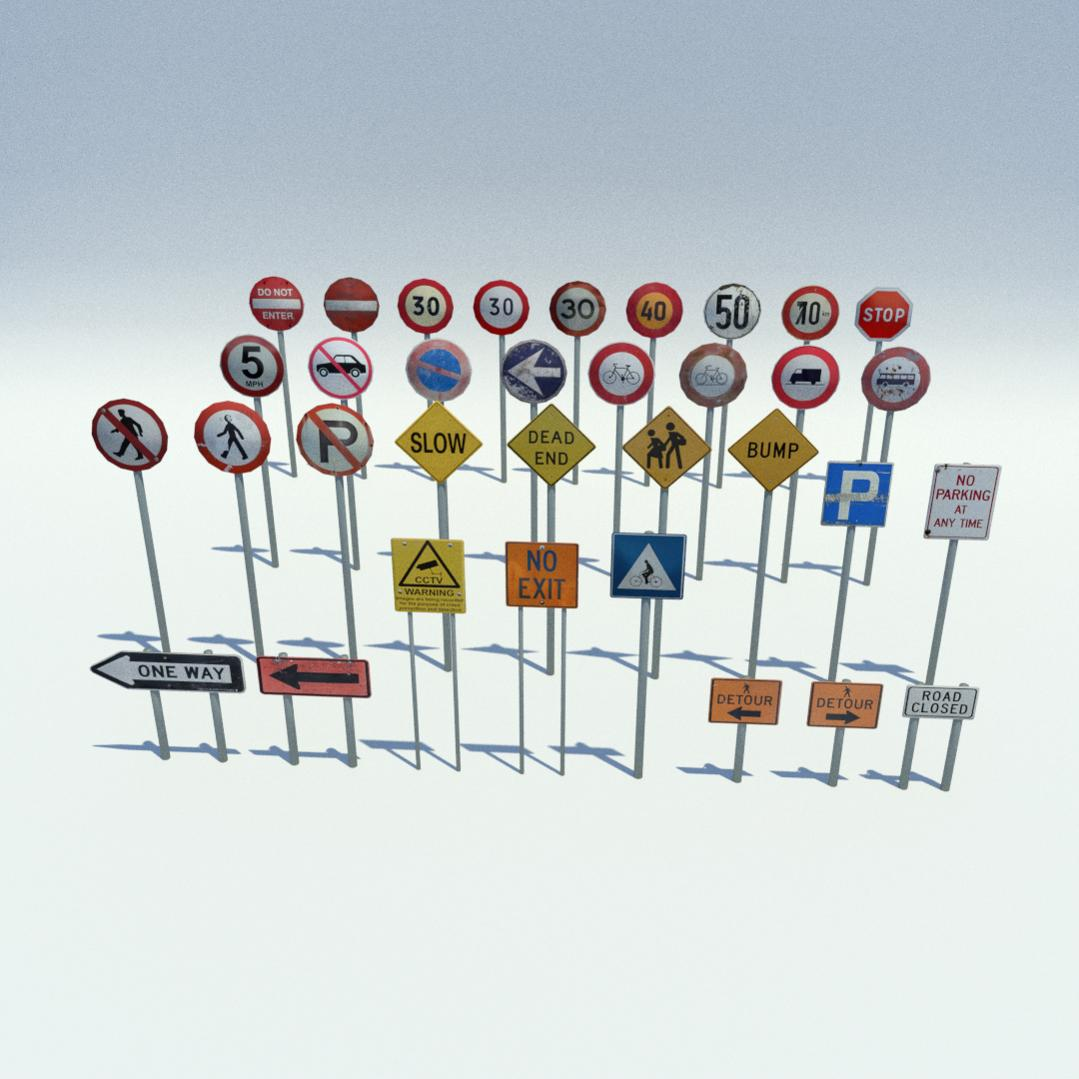 Low Poly Road Signs Pack - Finished Projects - Blender