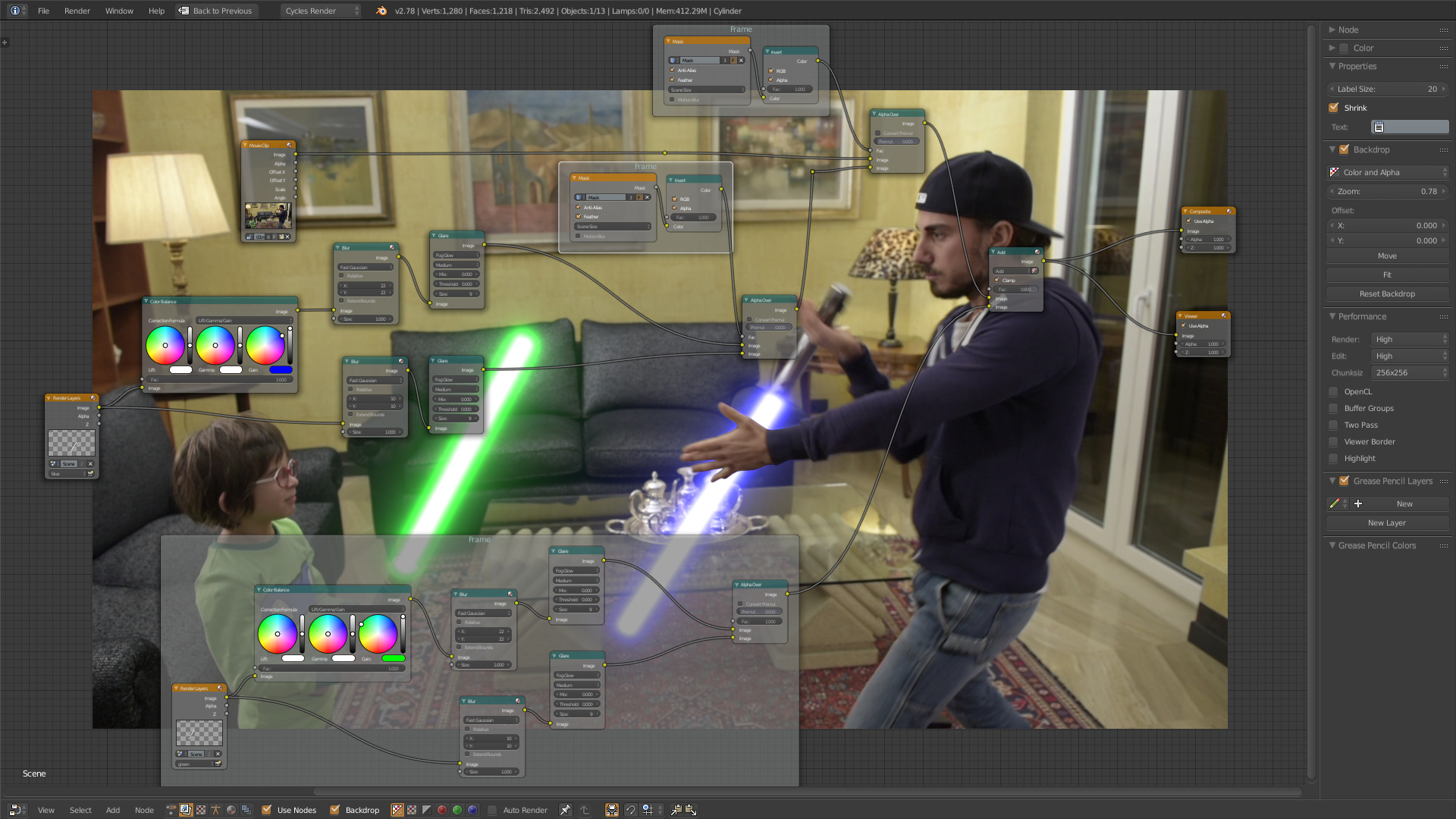 Export lightsaber blur and glare effect with alpha to after