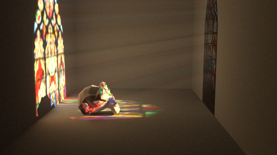 Volumetric Lighting Ping Through A Stained Gl