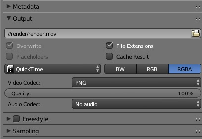 howto render with tranpsarant background quicktime
