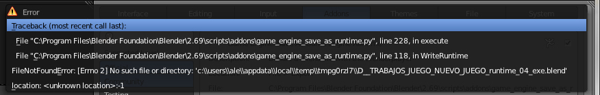 Blender 2 69 Runtime error - Traceback, most recent call last - Game