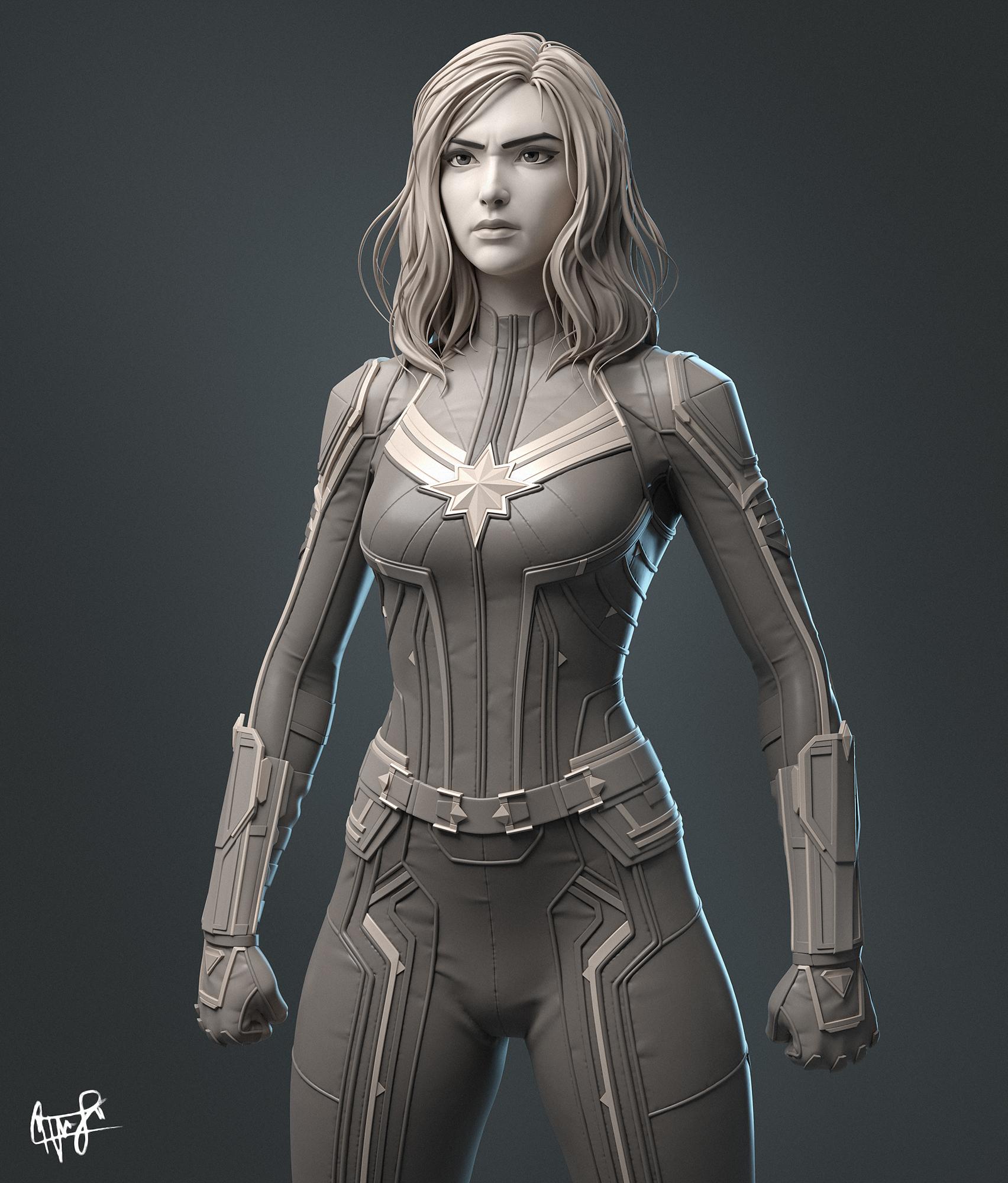 Captain Marvel Sculpture