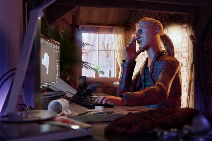 A painterly rendered artists sits in his room to work on a 3D-Project. Glaring sunlight comes crashing in the realistic shaded environment on an early winter morning.